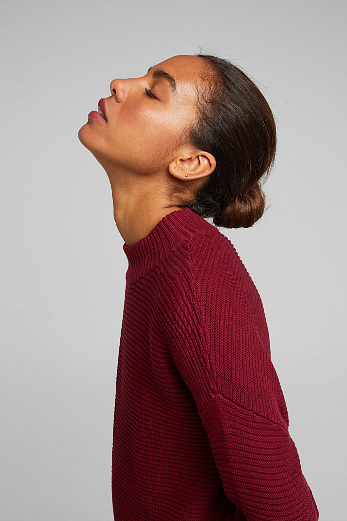 With cashmere: organic cotton jumper, BORDEAUX RED, detail image number 5