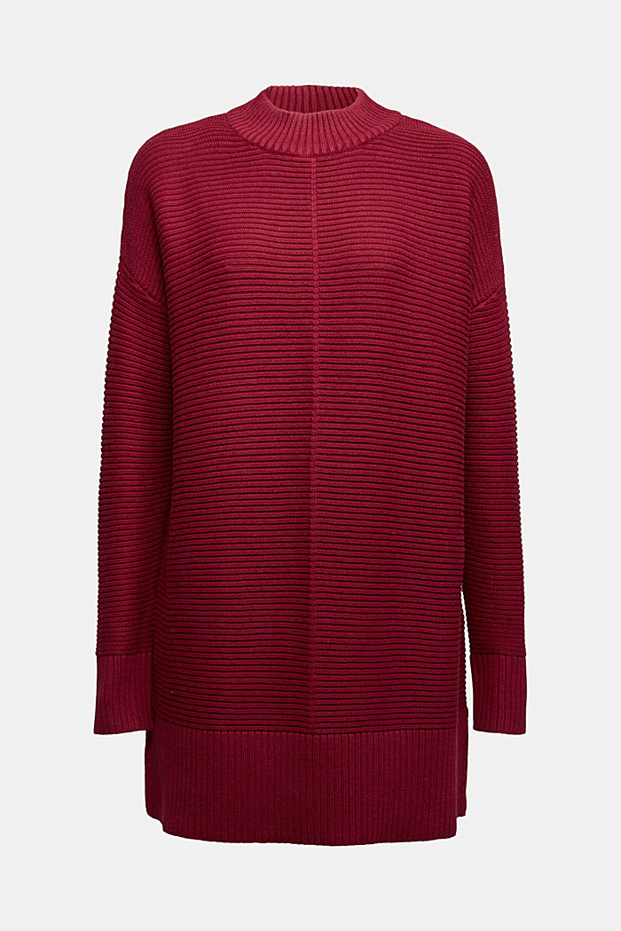 With cashmere: organic cotton jumper, BORDEAUX RED, detail image number 6