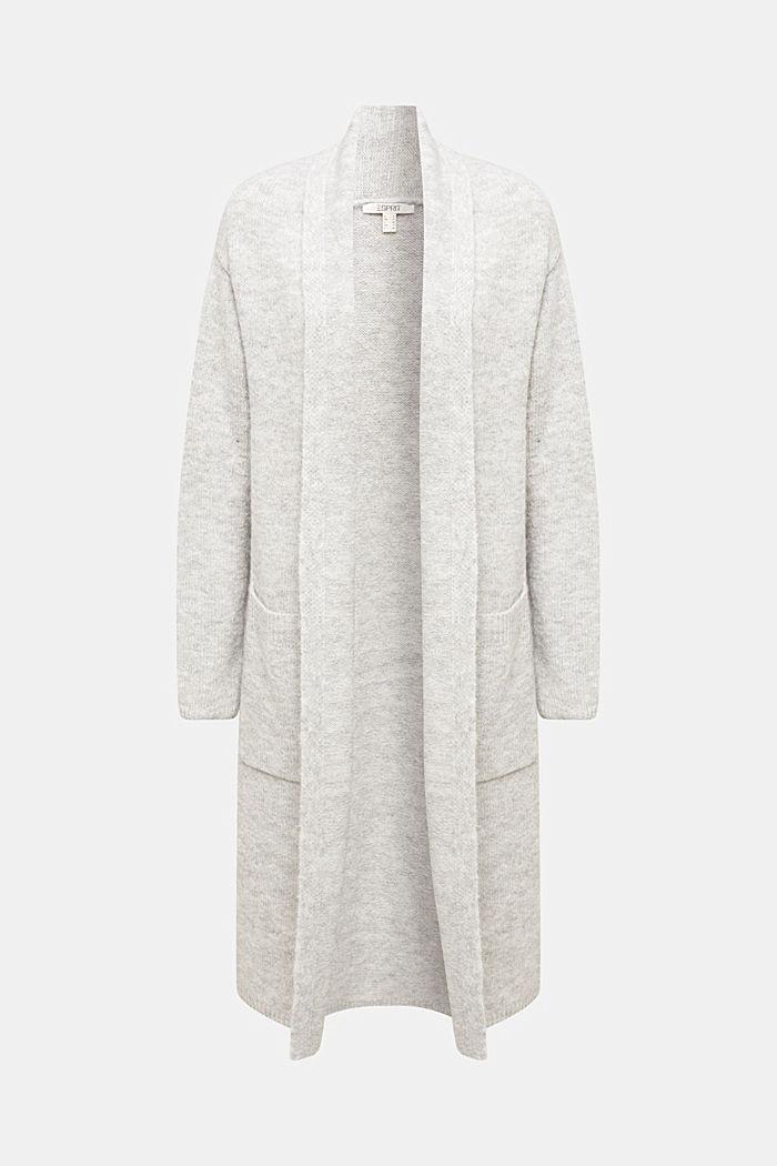 Long cardigan with alpaca, LIGHT GREY, detail image number 6