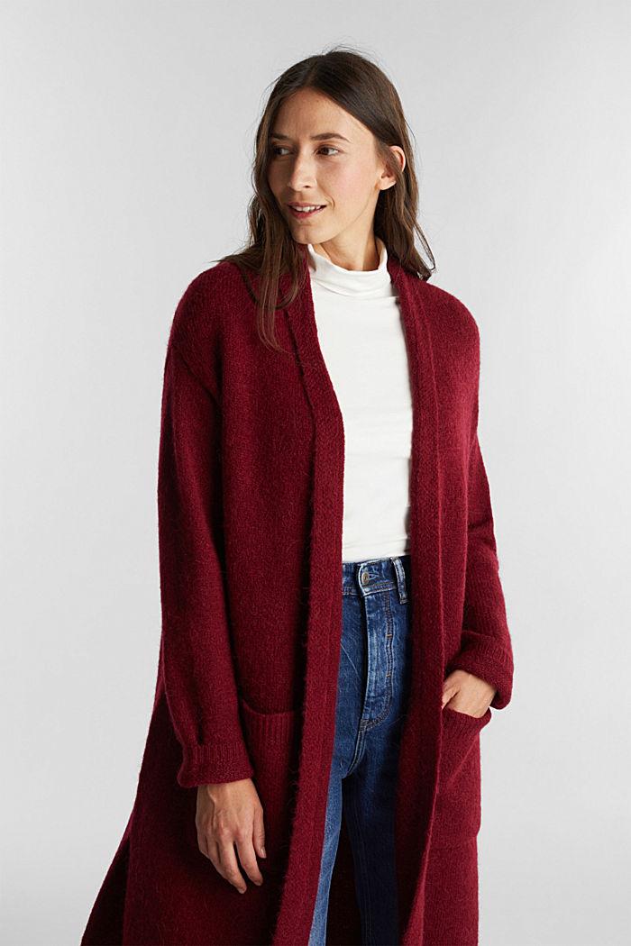 Lang vest met alpacawol, BORDEAUX RED, detail image number 0