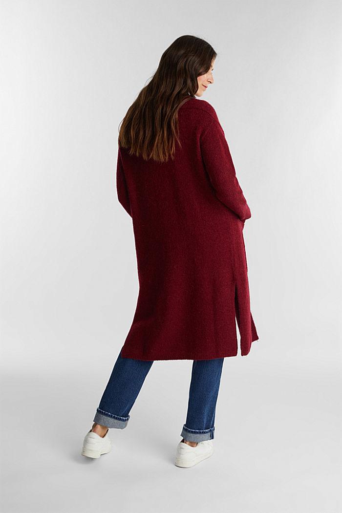 Lang vest met alpacawol, BORDEAUX RED, detail image number 2