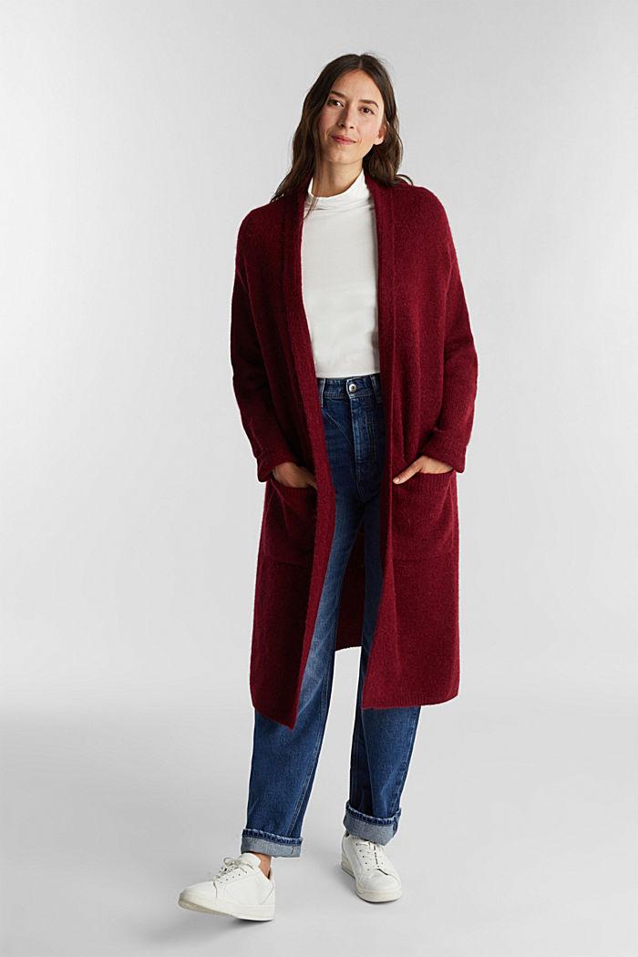 Lang vest met alpacawol, BORDEAUX RED, detail image number 1
