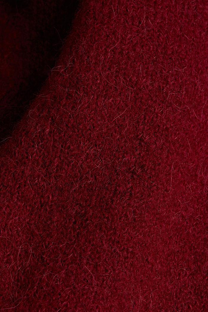 Lang vest met alpacawol, BORDEAUX RED, detail image number 3