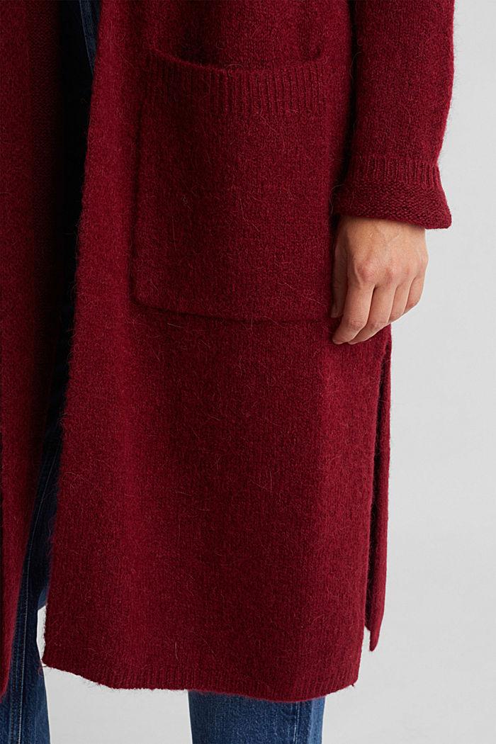 Lang vest met alpacawol, BORDEAUX RED, detail image number 4
