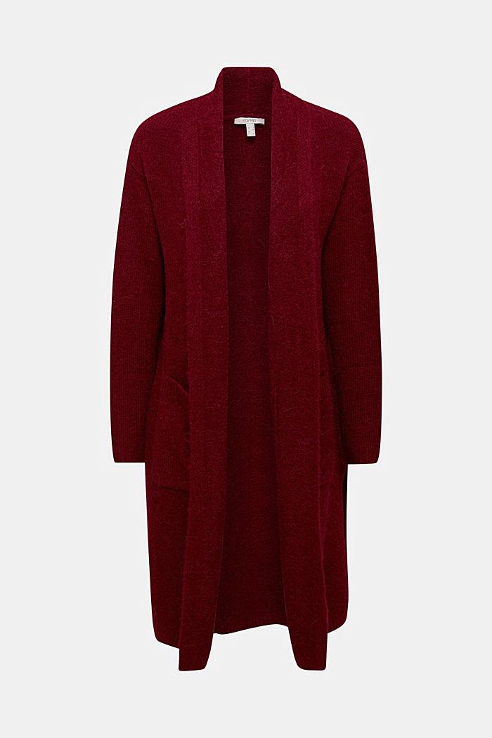 Lang vest met alpacawol, BORDEAUX RED, detail image number 5