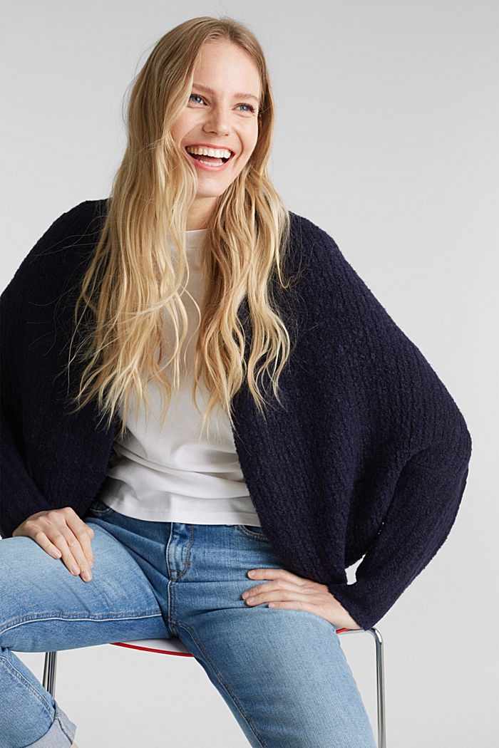 Wool blend: Cape-style cardigan, NAVY, detail image number 0