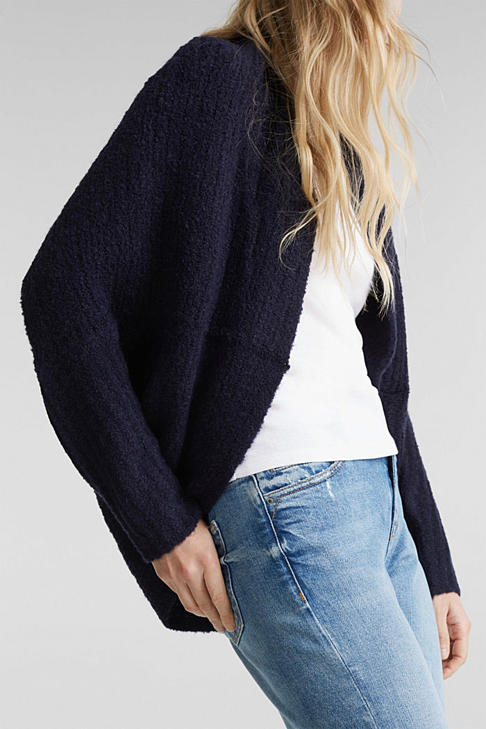 Wool blend: Cape-style cardigan, NAVY, detail image number 2