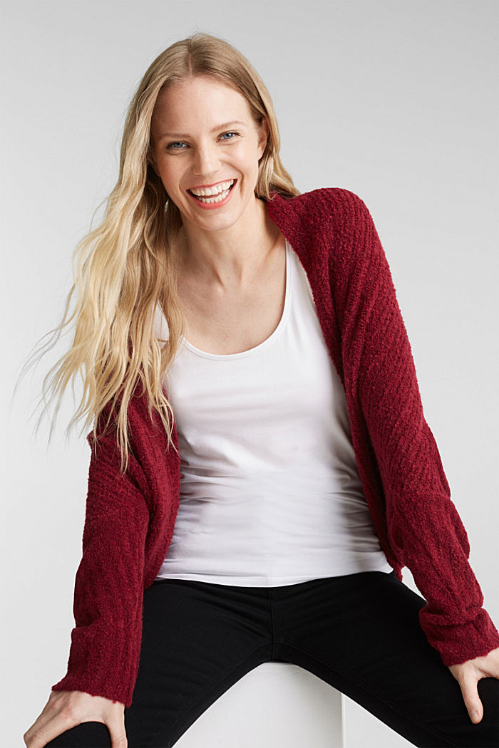 Mit Wolle: Cardigan im Cape-Stil, BORDEAUX RED, detail image number 0