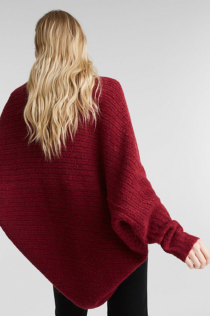 Mit Wolle: Cardigan im Cape-Stil, BORDEAUX RED, detail image number 3