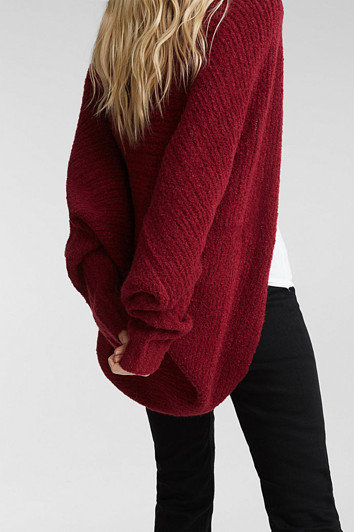 Mit Wolle: Cardigan im Cape-Stil, BORDEAUX RED, detail image number 2