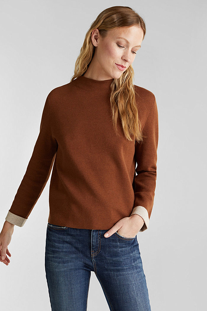 Boxy jumper made of compact knit fabric, TOFFEE, detail image number 0