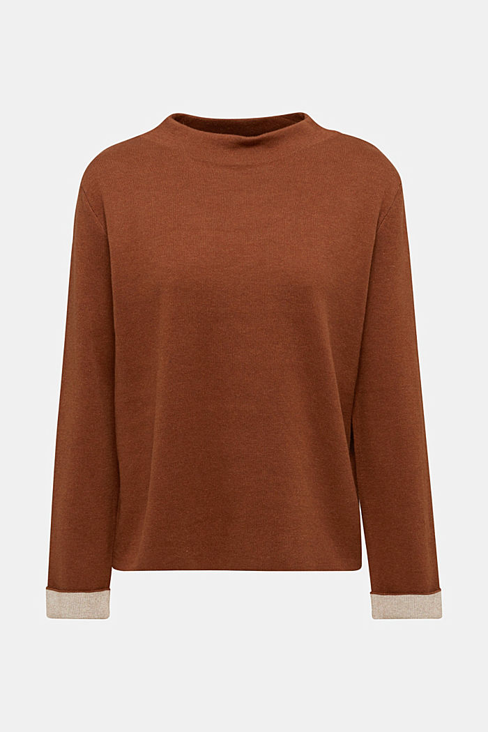 Boxy jumper made of compact knit fabric, TOFFEE, detail image number 6