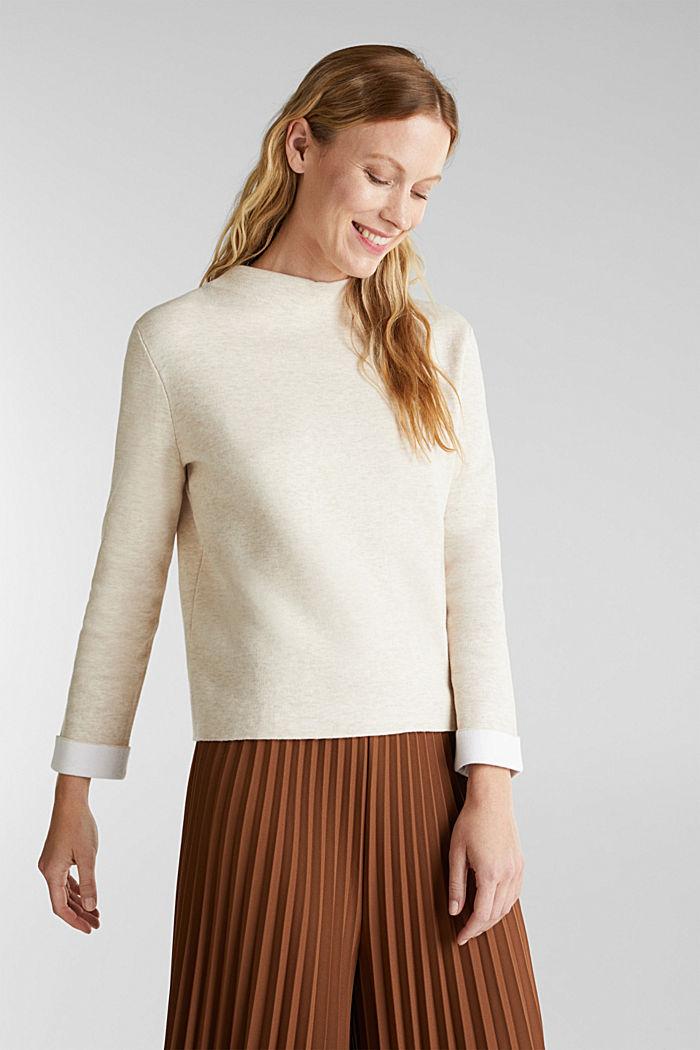 Boxy-Pullover aus kompaktem Strick, SAND, detail image number 0