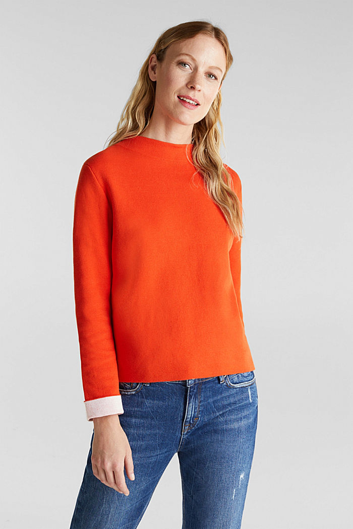 Boxy jumper made of compact knit fabric, RUST ORANGE, detail image number 0