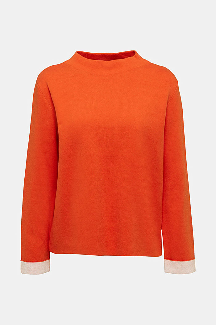 Boxy jumper made of compact knit fabric, RUST ORANGE, detail image number 5