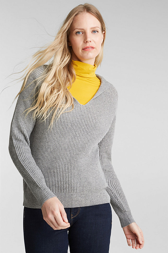 With cashmere: rib knit hoodie, GUNMETAL, detail image number 0