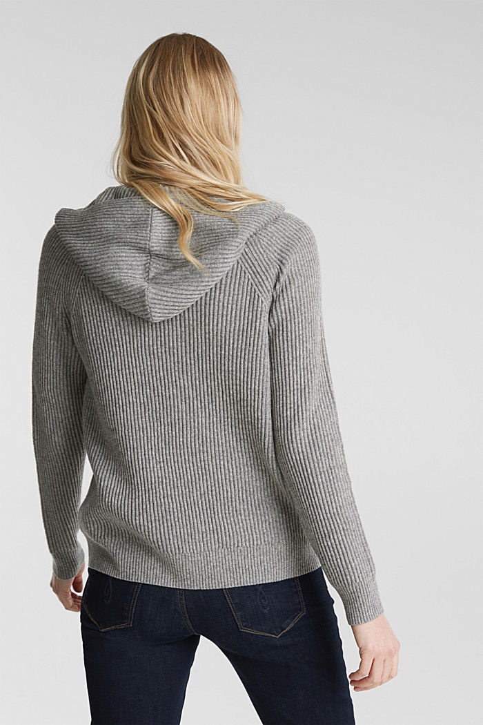 With cashmere: rib knit hoodie, GUNMETAL, detail image number 3