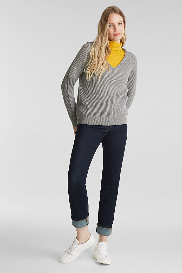 With cashmere: rib knit hoodie, GUNMETAL, detail image number 1