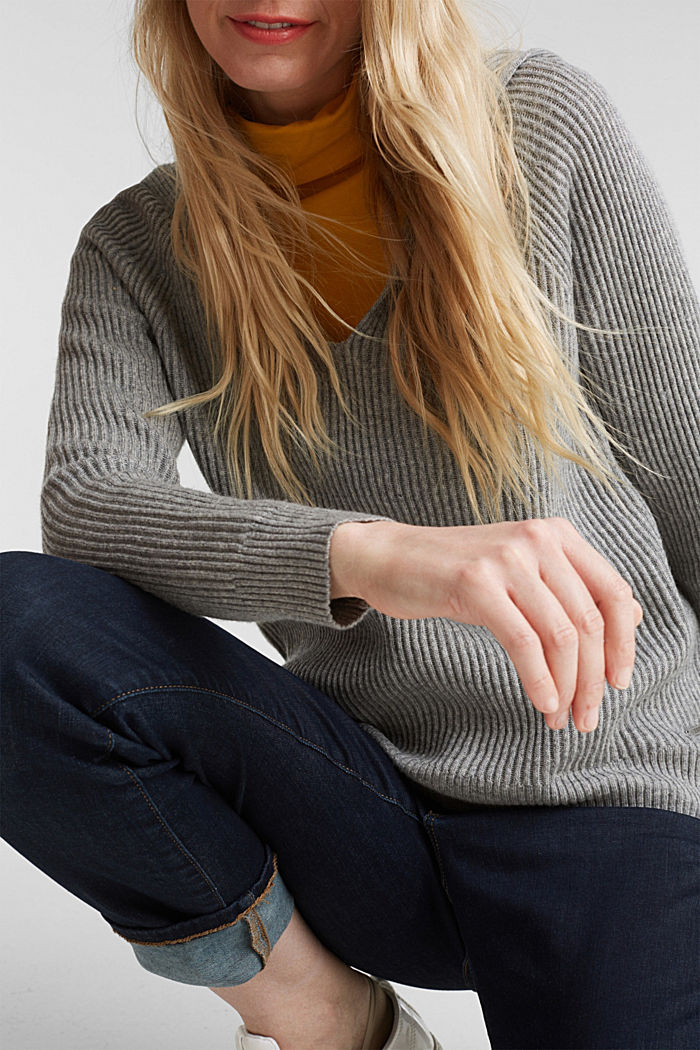 With cashmere: rib knit hoodie, GUNMETAL, detail image number 2