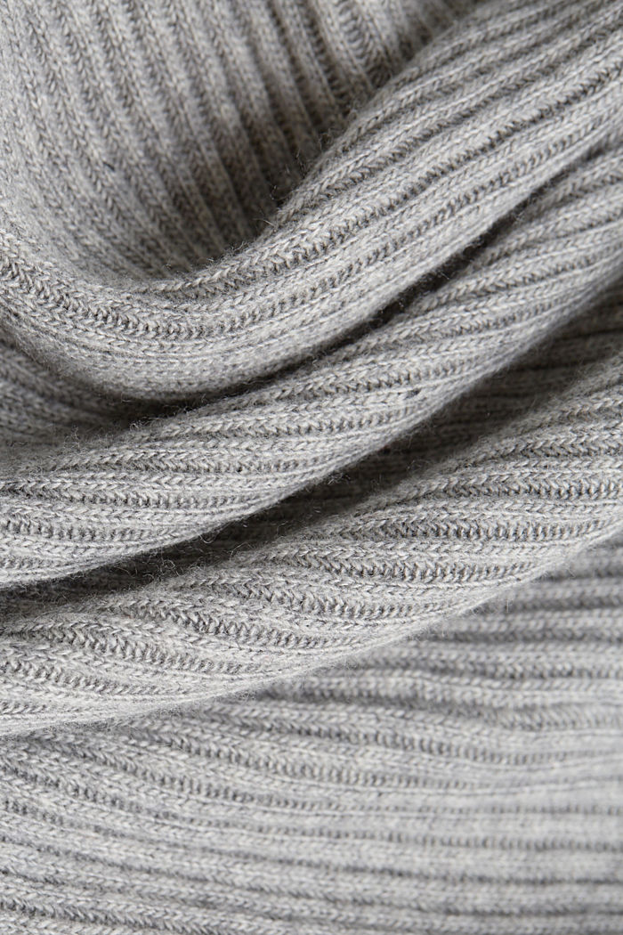 With cashmere: rib knit hoodie, GUNMETAL, detail image number 4