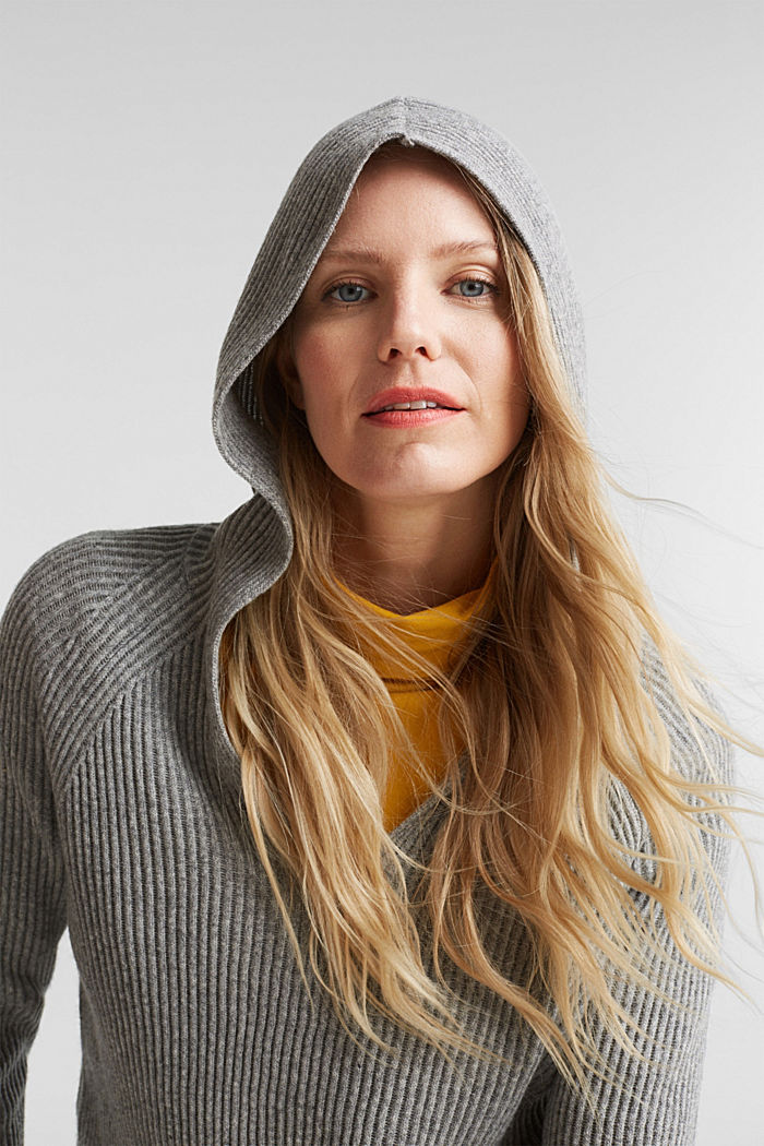 With cashmere: rib knit hoodie, GUNMETAL, detail image number 5