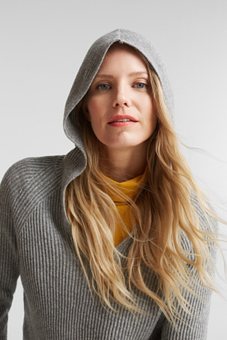 With cashmere: rib knit hoodie