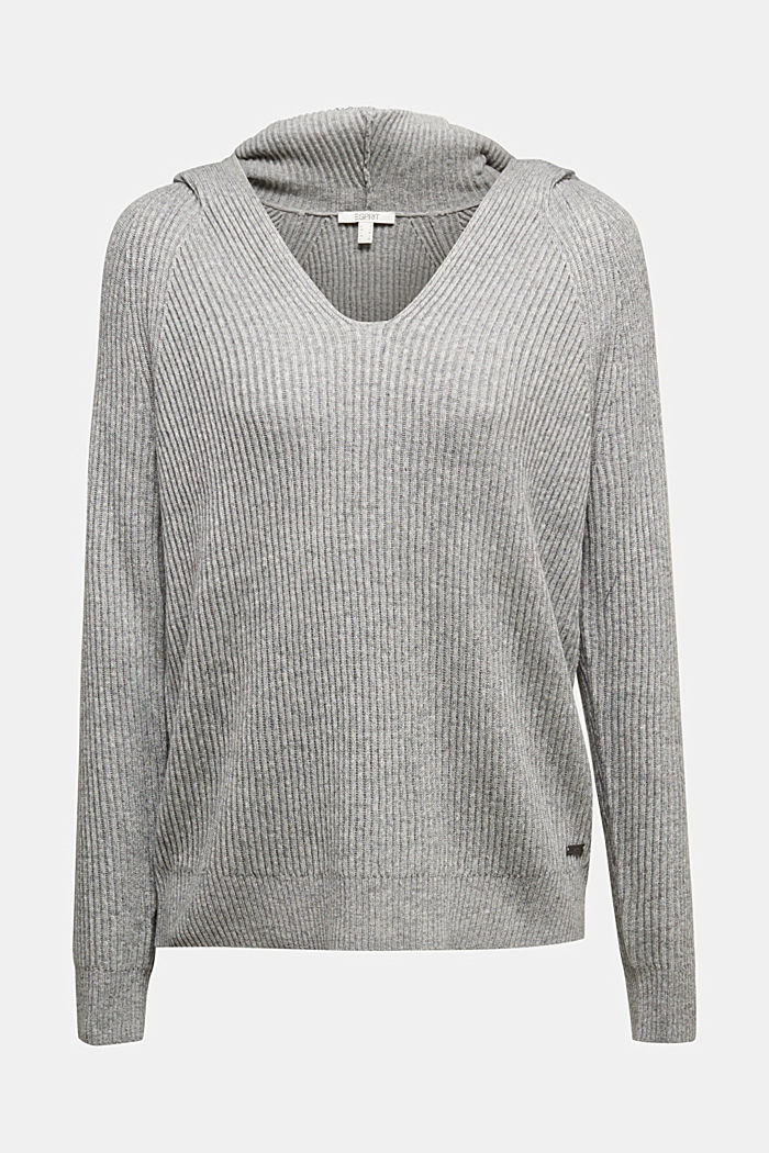 With cashmere: rib knit hoodie, GUNMETAL, detail image number 6