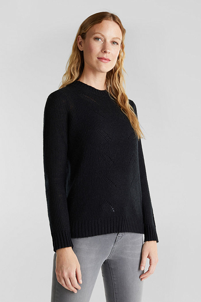 Pointelle jumper with wool, BLACK, detail image number 0