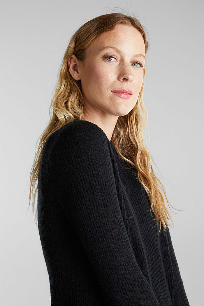 Pointelle jumper with wool, BLACK, detail image number 6