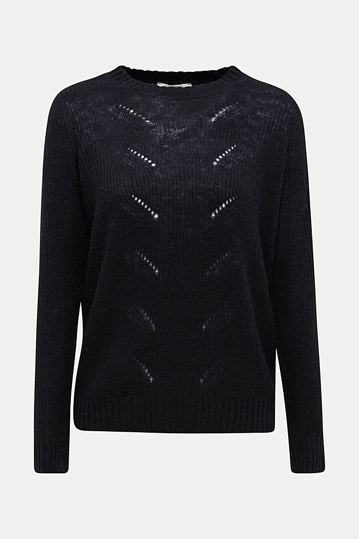 Pointelle jumper with wool, BLACK, detail image number 7