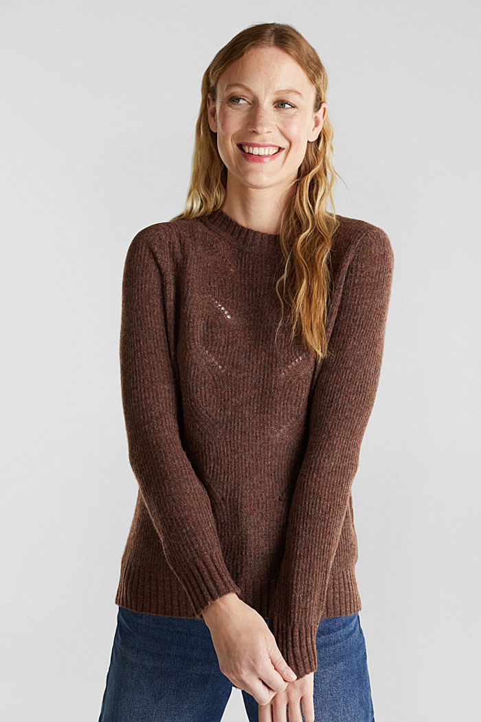 Pointelle jumper with wool, BROWN, detail image number 0