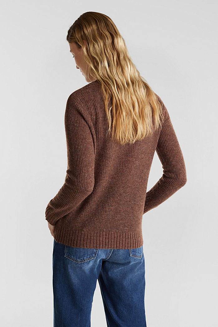 Pointelle jumper with wool, BROWN, detail image number 3