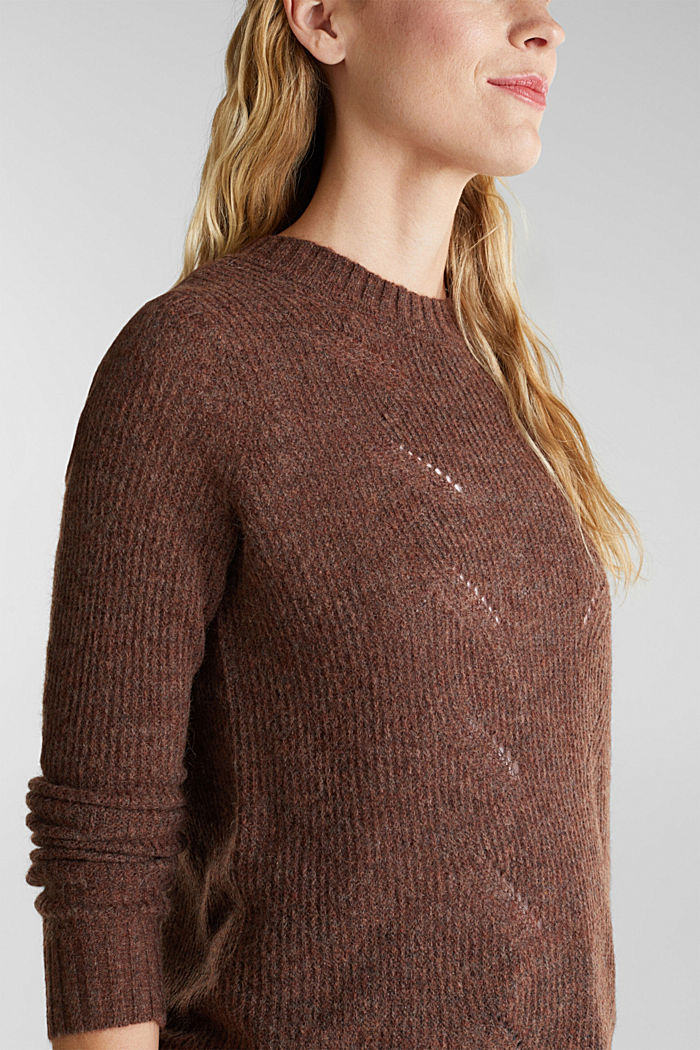 Pointelle jumper with wool, BROWN, detail image number 2