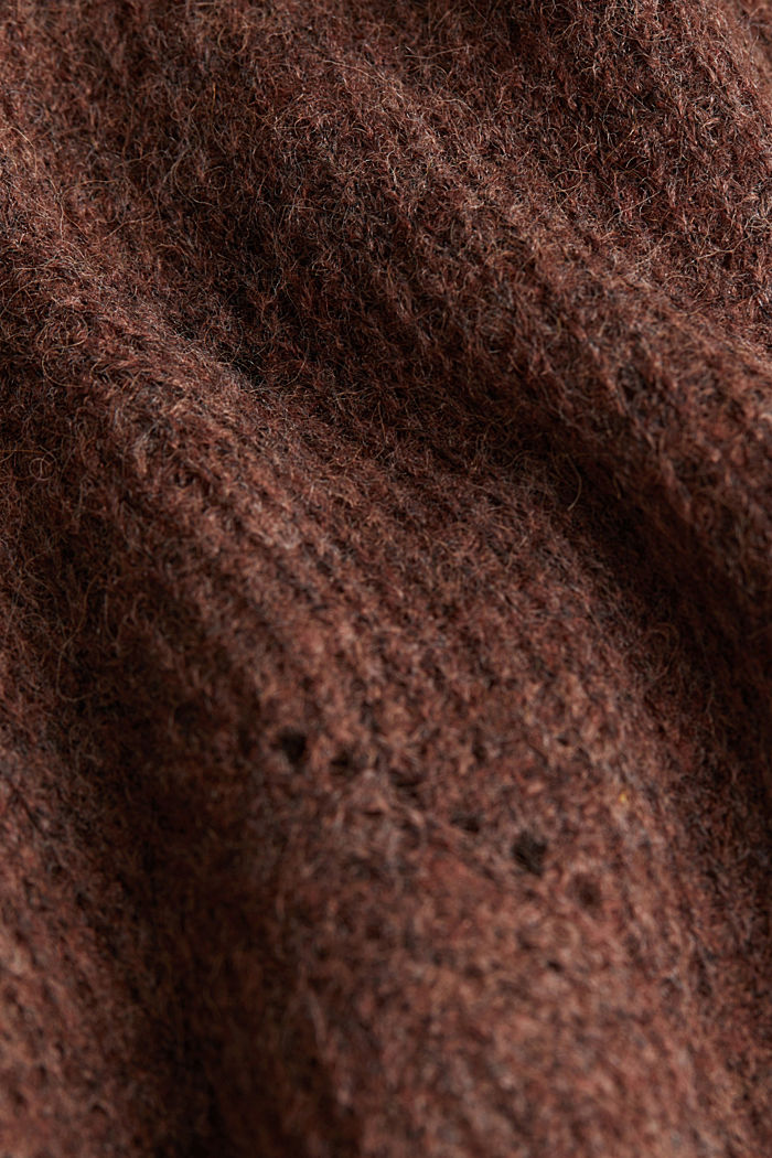 Pointelle jumper with wool, BROWN, detail image number 4