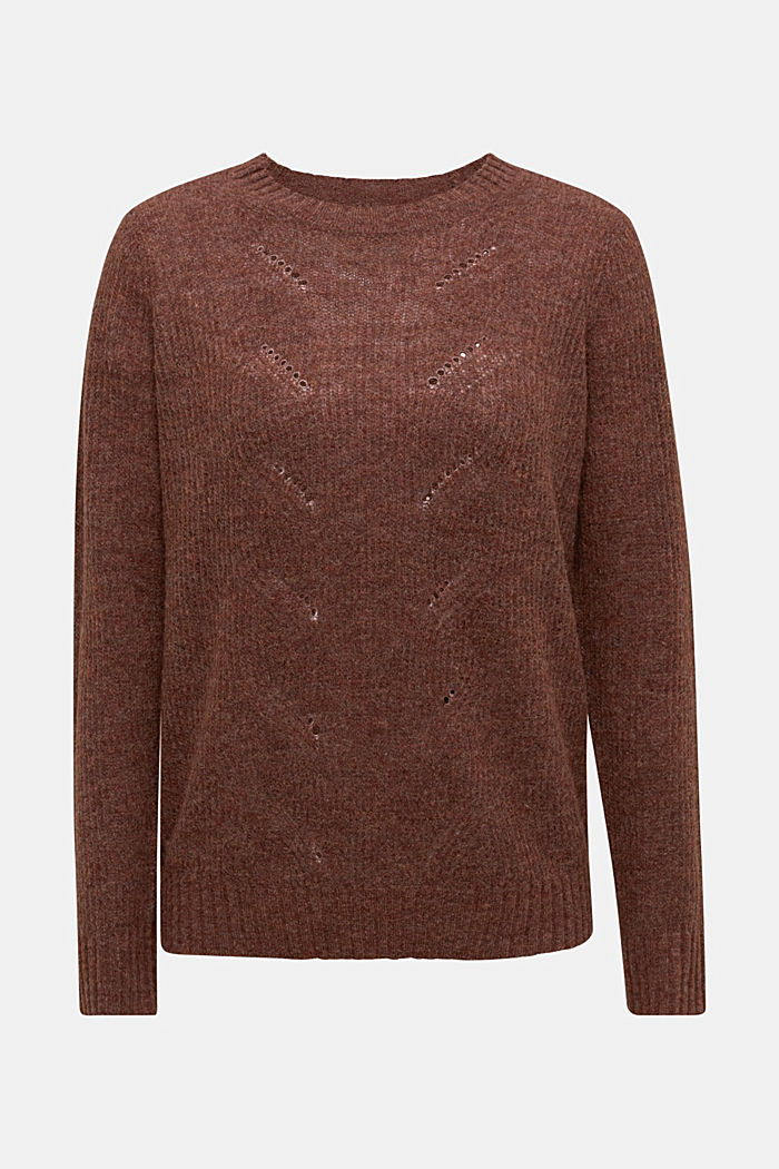 Pointelle jumper with wool, BROWN, detail image number 5