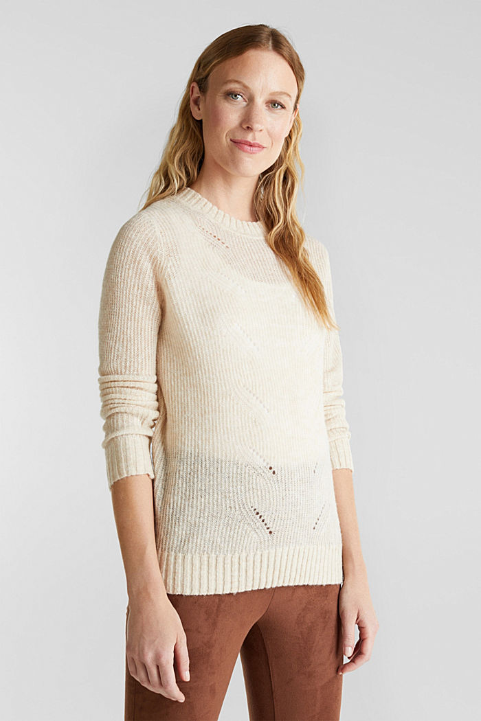 Pointelle jumper with wool, SAND, detail image number 0