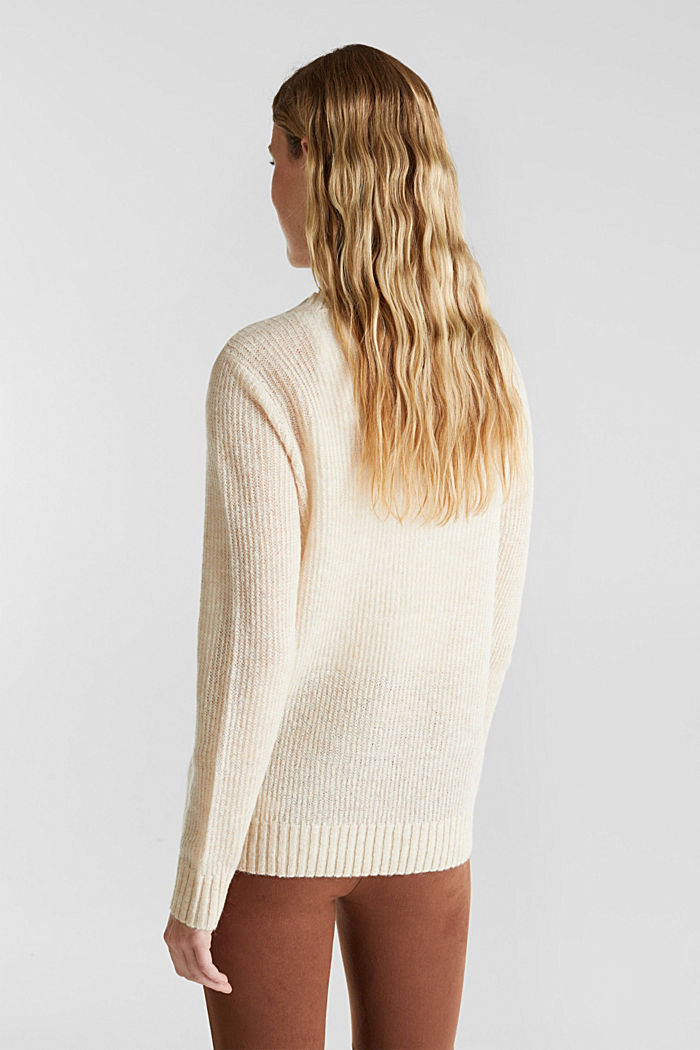 Pointelle jumper with wool, SAND, detail image number 3