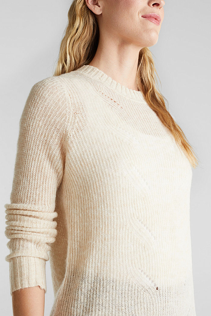 Pointelle jumper with wool, SAND, detail image number 2