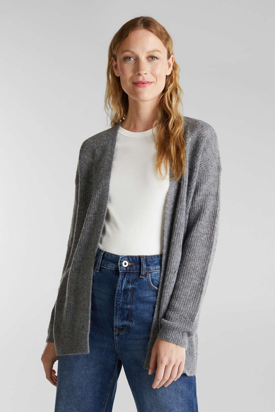 Esprit - Wool blend: pointelle cardigan