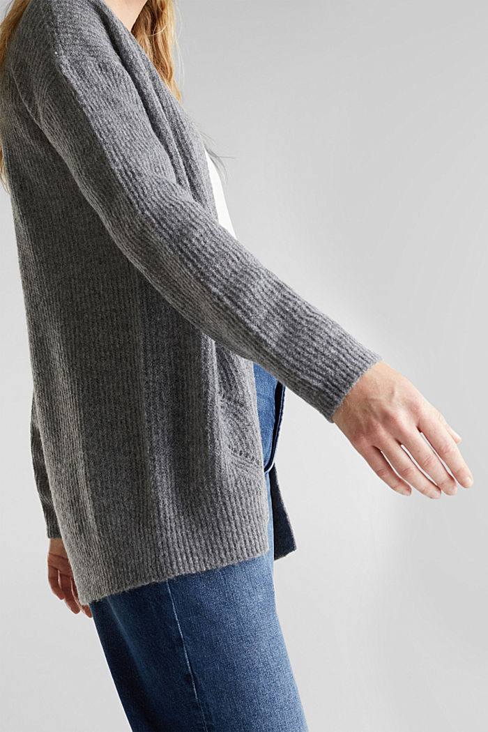 Wool blend: pointelle cardigan, GUNMETAL, detail image number 2