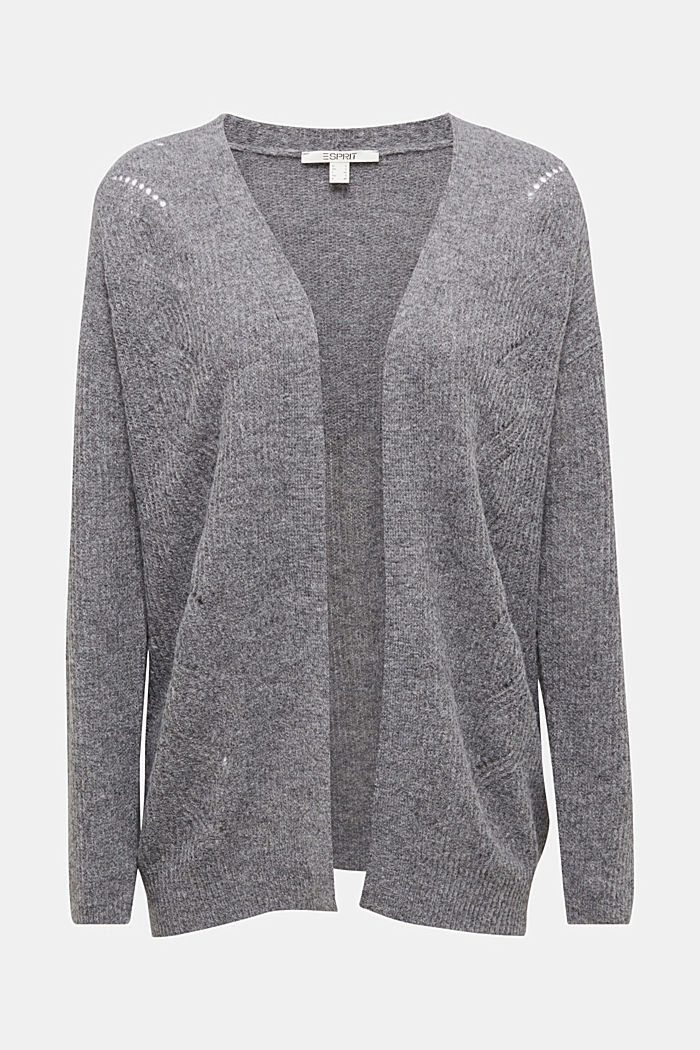 Wool blend: pointelle cardigan, GUNMETAL, detail image number 5