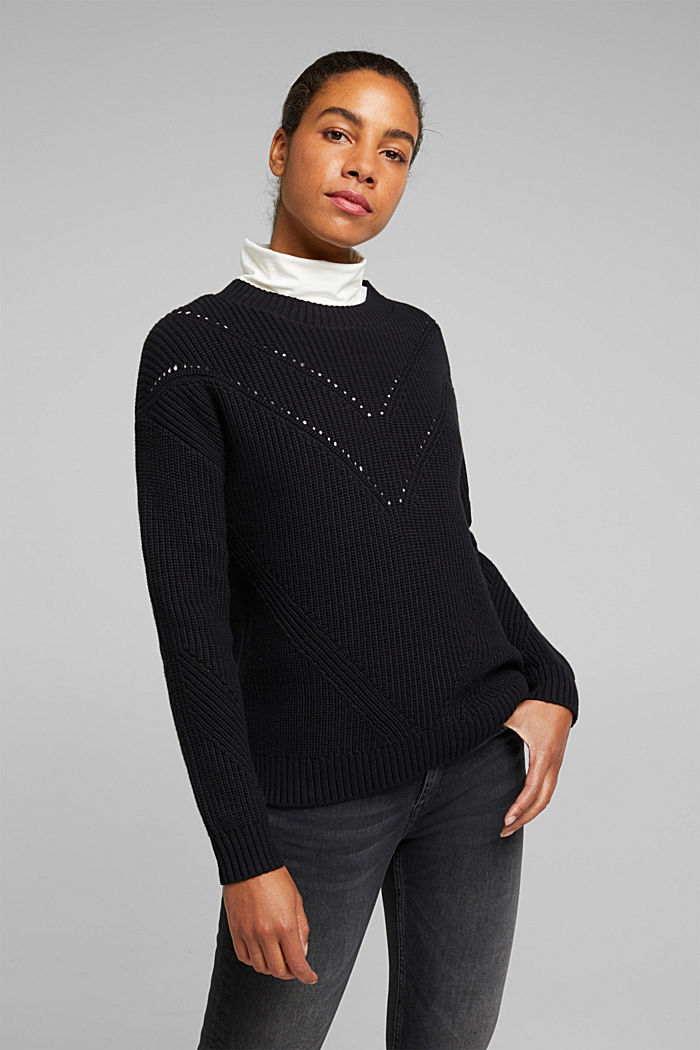 With cashmere: jumper made of organic cotton, BLACK, detail image number 0