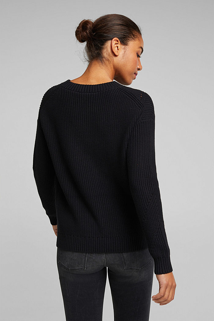 With cashmere: jumper made of organic cotton, BLACK, detail image number 3
