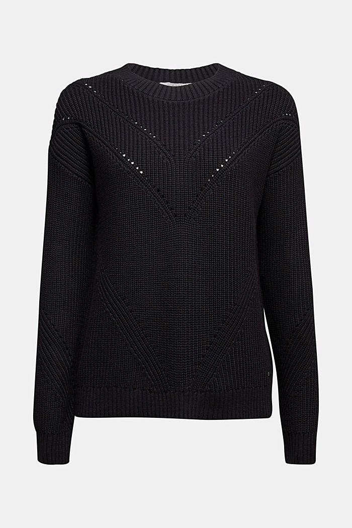 With cashmere: jumper made of organic cotton, BLACK, detail image number 5