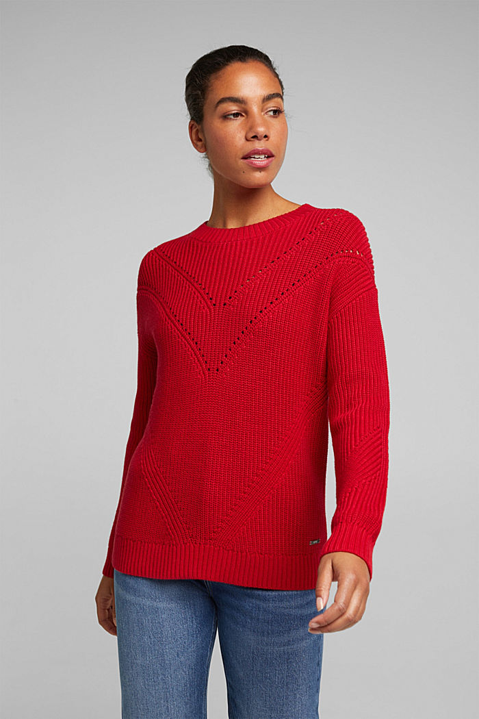 With cashmere: jumper made of organic cotton, RED, detail image number 0
