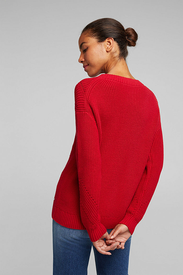 With cashmere: jumper made of organic cotton, RED, detail image number 3