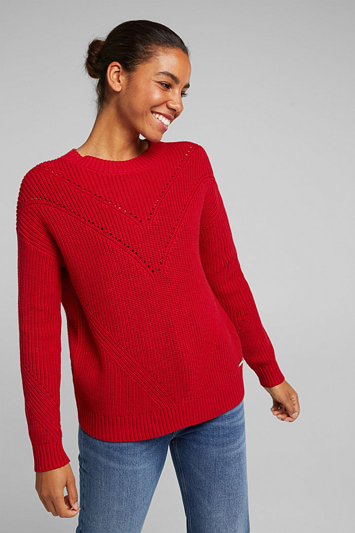 With cashmere: jumper made of organic cotton, RED, detail image number 5