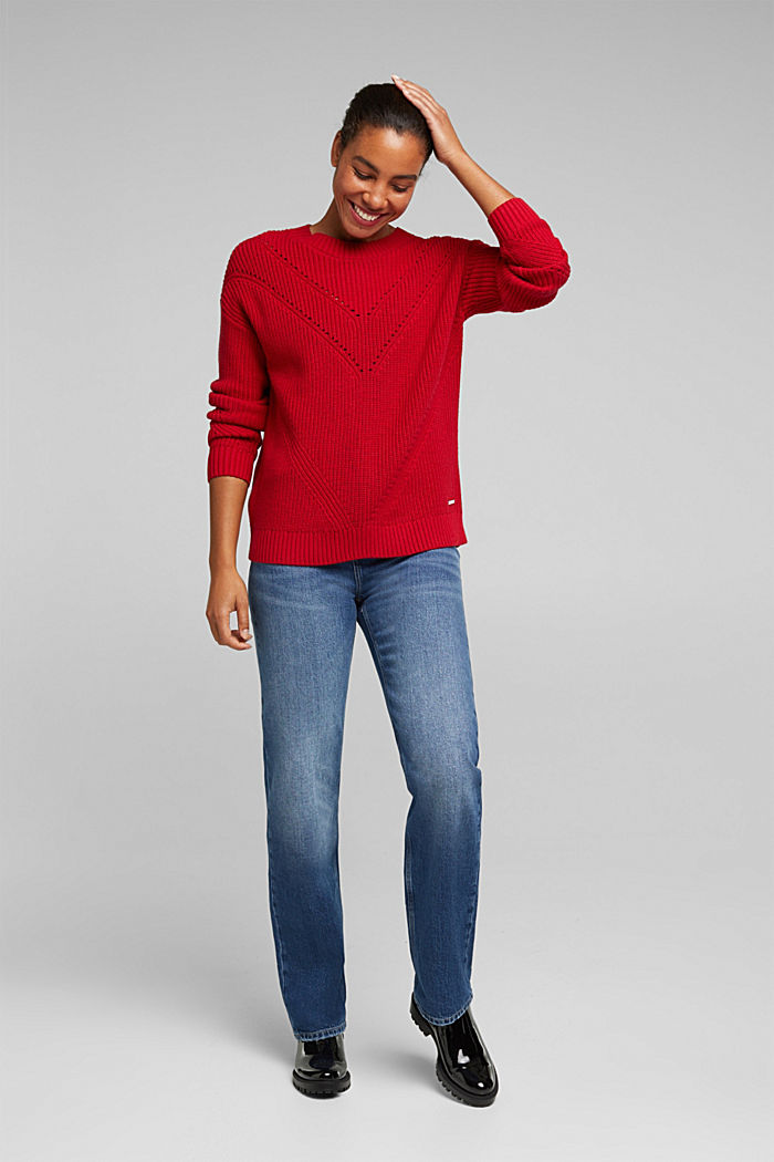 With cashmere: jumper made of organic cotton, RED, detail image number 1