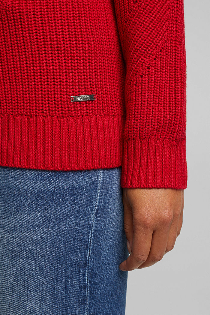 With cashmere: jumper made of organic cotton, RED, detail image number 2
