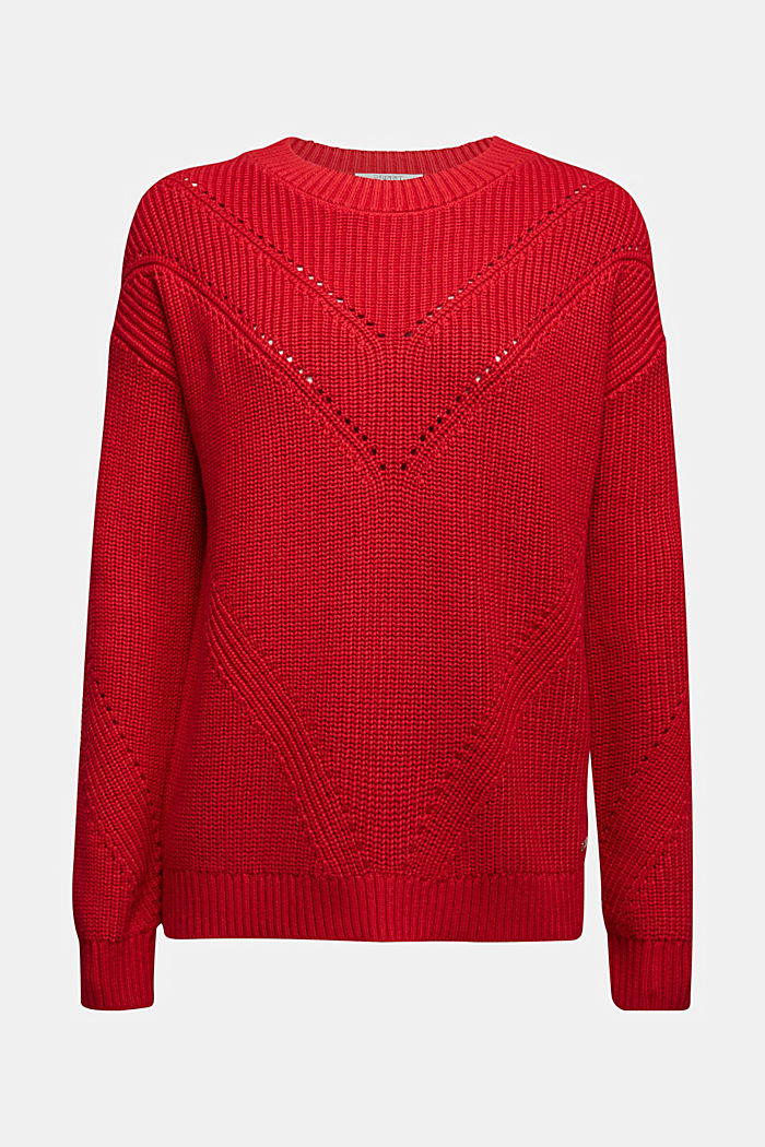 With cashmere: jumper made of organic cotton, RED, detail image number 6